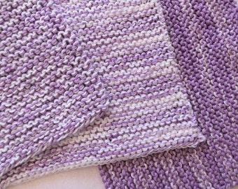 "handknitted dish cloth - set of 3 -  8 x 8"", potholders, knitted, dishcloth, wash cloth, face cloth, cotton, garter stitch"