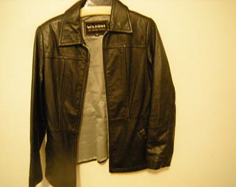 Women leather jacket-black jacket-Wilson's leather expert-2 pockets-casual wear-size M-lined in grey-