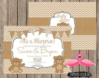 Teddy Bear Neutral Baby Shower Invitation