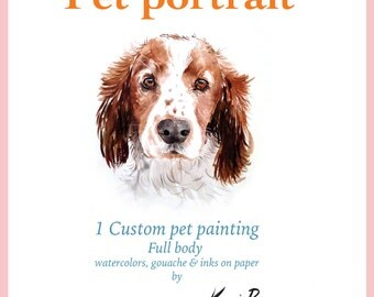 Gift certificate. Custom pet portrait. One pet. Last minute gift idea for pet lovers.