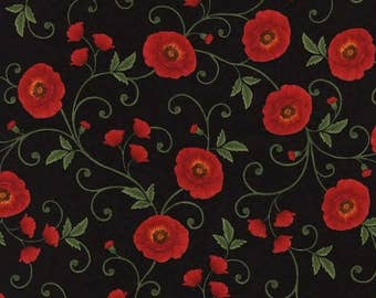 Gorgeous Medium Red Poppies, Black, Poppy Grove, Timeless Treasures, Chong a Hwang (By 1/2 yd)