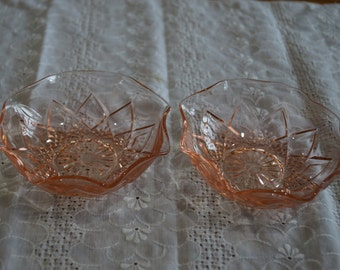 Vintage Diamond Arches-Pink by Hazel-Atlas Individual Berry/Fruit Bowls-Set of 2