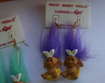 Vintage Russ Troll Earrings, Wacky Wabbit Trolls