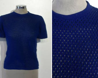 """Cool 1960s openwork mesh-look knit top bust 34"""" - 36"""" NOS  unworn"""