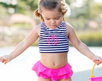 Monogrammed Prep Stripe Toddler Swimsuit WB