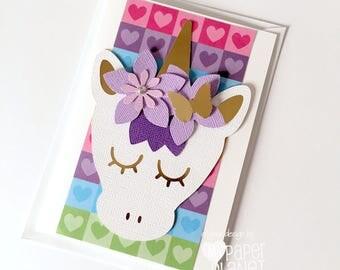Rainbow Unicorn greeting card, Purple, white & gold. Blank birthday card, new baby girl. Believe in unicorns. Happy birthday. Rainbow hearts