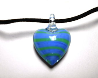 Blue Glass Pendant on Suede Handmade Necklace