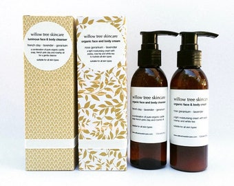 Luminous Skin Gift Set, Face and Body Cleanser and Face and Body Cream infused with Lavender and Rose Geranium