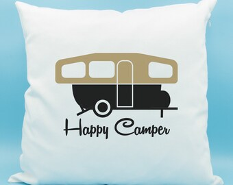 Happy Camper Pillow - Pop Up Camper Cushion - Camping Trailer Throw Pillow - Gold Blue Red Yellow Camper Pillow - Camper Silhouette Cushion
