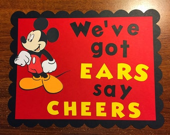 Mickey Mouse birthday party sign. Sign for Mickey ears. Sign size.  Mickey Mouse clubhouse party sign.