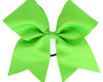 Large Solid Cheer Bow in Neon Green