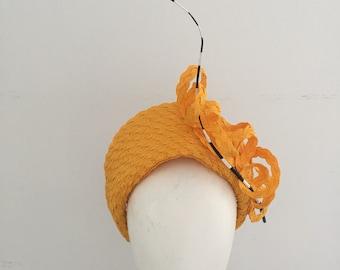 Yellow fascinator, yellow hat, church hat, fascinator, kentucky derby hat, kate middleton hat, ascot hat, millinery,