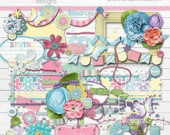 Spring Blossoms Digital Scrapbooking Embelishments, Digital Elements, spring digital scrapbook elements