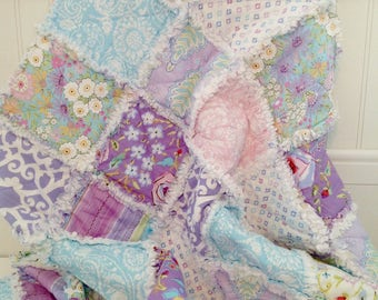 Baby Girl Rag Quilt, Crib Quilt, Toddler Blanket, Victorian Shabby Style, Meadow, Dena Design, Lilac, Pink, 35 X 48. Ready to Ship