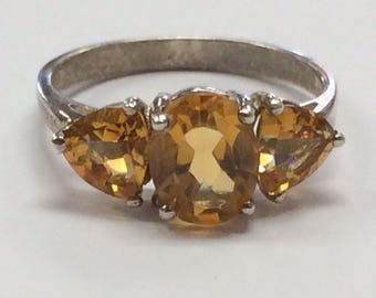 Sterling Silver 925 Citrine Three Stone Ring Size 8.75