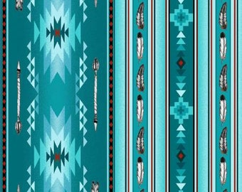 Native Spirit Arrows and Feathers~Turquoise ~Cotton Fabric,Craft,Quilt,~Elizabeth Studios~Fast Shipping,N368