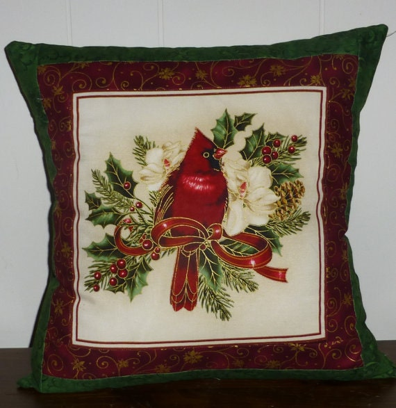 Christmas Decorative Pillow Cover Cardinal Beautiful with