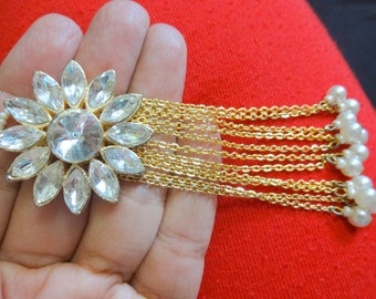 Tassel, Metal Embellishment, Wedding Accents, Brooch with Rhinestones, Rhinestone Charm, Bag Embellishment, Craft Supplies