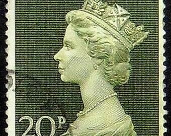 Queen Elizabeth, UK -Handmade Framed Postage Stamp Art 21318AM