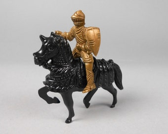 Knight on Horse Vintage Plastic Toy Gold Knight Black Horse