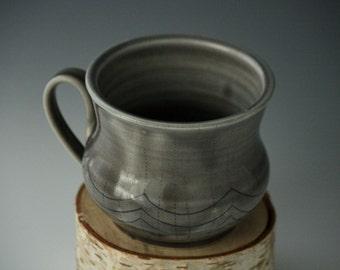 Grey mug, Ceramic mug, Pottery mug, Grey coffee cup, Handmade mug, Wheel thrown mug, Handcrafted mug, Grey and blue mug, Christmas gift mug