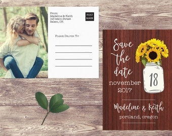 Rustic Save The Date Postcard, Rustic Postcard Save the Date, Photograph Save the Date, Sunflower Save the Date, Mason Jar Save the Date