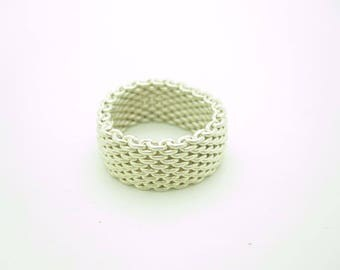 Tiffany & Co. Sterling Silver Somerset Mesh Band Ring Size 5.5