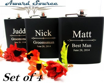 Set of 4 Bridal Party Flasks // Wedding Attendant Thank You Gifts // Best Groomsman and Bridesmaid Gift Ideas for Men and Women