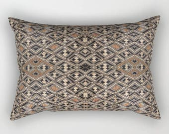 African Art Oblong/Rectangular Throw Pillow - Featuring Exclusive Kuba Cloth Design - Variation #2 / Spun Polyester