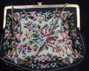 Small Needlework Bag with Chain, Vintage Petit Point Bag with Cream Satin Lining
