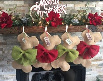 Personalized Burlap Dog Bone Christmas Stocking