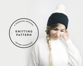 KNITTING PATTERN ⨯ Double Brim Hat, Slouchy Hat, Knit Beanie  ⨯ The Savante Two Tone