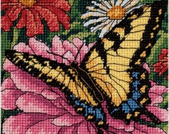 Butterfly on Zinnia needlepoint kit (floss)