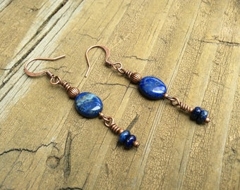 Lapis Earrings, Blue Lapis Lazuli, Copper Nickel Free Earwires