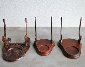 Vintage Plastic Faux Tortoiseshell and Solid Wood Cup and Saucer Display Stands Mid Century Cottage Country Teacup Collection Display