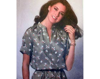 Women's Pullover Tunic Top Sewing Pattern with Tie Belt, Raglan Sleeves Size 14, 16, 18 Bust 36, 38, 40 Uncut Vintage 1970's Simplicity 9057