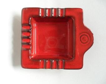Ashtray,Vintage ashtray,ceramic ashtray,red ashtray,german ceramic,Vintage ceramic,Germany 1075,german pottery ashtray