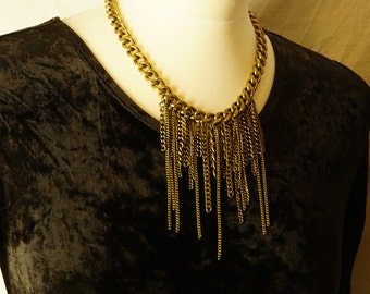 statement chain necklace / multiple chain necklace / copper chain