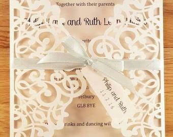 Delicate Laser Cut Gatefold Wedding Invitations Invite *sample*