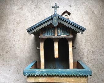 Folk Art Weather House Wood Painted