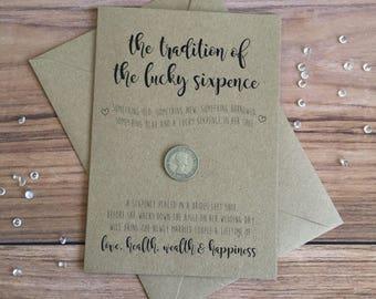 Lucky Sixpence • Card for Bride • Wedding • Something Old, Something New • Wedding Keepsake