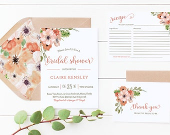 Bridal Shower Invitation, Recipe And Or Thank You Card Printed OR Print Yourself Set