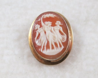 Gilt over 800 Sterling Silver Cameo Pendant/ Brooch  with Three Graces/Charites