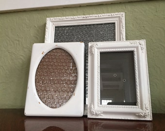shabby chic ornate picture frames soft white distressed set of 3 8x10