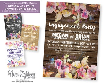 Engagement Party INVITATION. Watercolor floral design. Printable PDF/JPG. I design, you print.