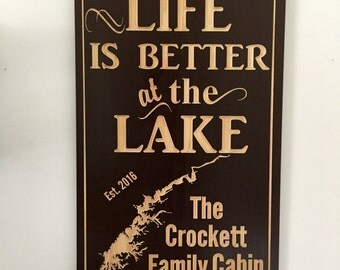 Lake outline, Custom Lake House, Personalized Sign, Welcome Signs, Black Sign, Nautical Theme, Boating, Custom Wood Signs, Benchmark Signs