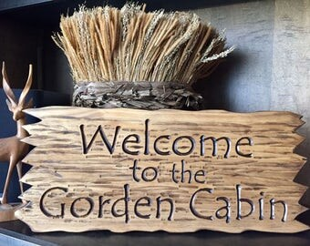 Cabin Sign with Jagged Edge Rustic Personalized Cabin Sign Camping Signs Wooden Welcome Signs Name Camping Plaques Weekend Camping Signs