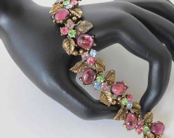 ART Vintage Multi Colored Rhinestone Bracelet With Amethyst Cabochon - Signed