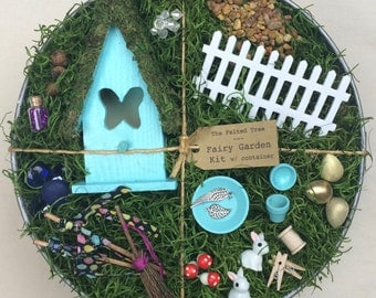 Easter Fairy garden kit with container, DIY, Turquoise, Yellow or Pink Butterfly fairy house, galvanized washtub
