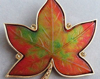 Large Vintage KC Gold Tone Autumnal Large Colorful Maple Leaf Brooch With Rhinestones